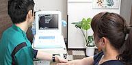 超音波観察装置によってエコー検診しさらに細かく状態を確認。